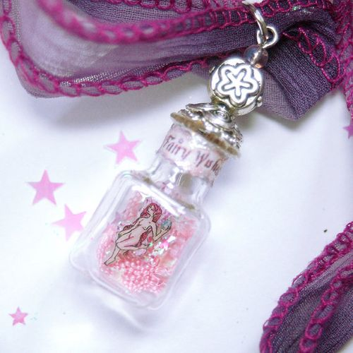 pink captured fairy wish bottle pendant