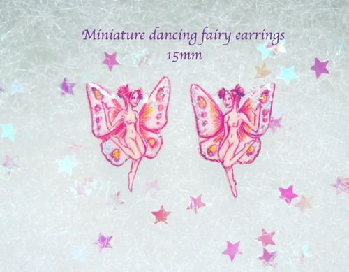 Tiny pink dancing fairy earrings